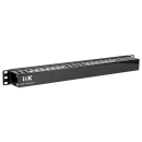 """ITK 19"""" пластиковый кабельный органайзер с крышкой, глубина 60мм, 1U, черный"""