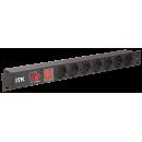 PDU 7 розеток нем. стандарт, с LED выключателем и защитой от перенапряжения, без шнура, вх. C14, алюминиевый профиль