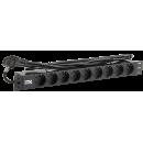 PDU 9 розеток DIN49440 (нем. cтанд.) 1U, шнур 2м вилка DIN49441 (нем. станд.), алюминиевый профиль, черный