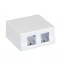NETLAN EC-UWO-2KJ-WT-10 Корпус настенной розетки NETLAN, под 2 модуля-вставки типа Keystone, белый, уп-ка 10 шт.